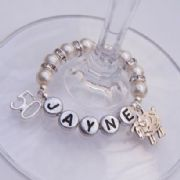 50th Birthday Personalised Wine Glass Charm - Double Charm Style